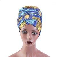 Müslüman Kadın Türban Başörtüsü Kapaklar İslam Eşarp Türban Bonnet Yeni Afrika Desen Başörtüsü Bonnet Bayanlar Afrika Wrap Kafa Eşarplar1