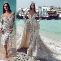 Champagne mangas compridas fora do ombro vestidos de casamento sereia com trem destacável vinatge princesa lace plus tamanho árabe Dubai vestidos de noiva