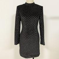 112 XL 2020 gratis verzending herfst zwart lange mouwen crew hals kanten jurk mode top jurk dames kleding Oulai