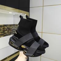 Meias de alta qualidade sapatos primavera e outono Novo Elástico Alto Top Mens e Womens Moda Espessa Socas Soladas Botas Original Pacote 34-46