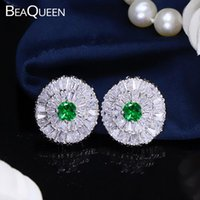 Beaqueen Ladies Green Cubic Zirconia Crystal Fashion Orecchini a stuzzia per le donne Regalo del partito E015