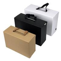 كرافت ورقة هدية مربع أسود براون مستطيل التعبئة حالة أضعاف حبل حمل الكرتون الملابس أحذية المنزل الأبيض المحمولة m2