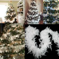 5 ST 2M Kerstboom Witte Veer Boa Home Party Ribbon Garland Decor