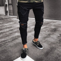 Fashion Men's Ripped NY Jeans destruido Frayed Slim Fit Denim Pantalones de mezclilla más Tamaño S M L XL 2XL