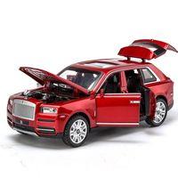 1/32 Modelos de carros de liga de diecast Rolls Royce Cullinan Modelo Modelo Som Light Pull Back SUV para crianças 7 Portas abertas Brinquedos para meninos Y1130