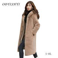 파카 여성 모피 코트 후드 겨울 플러스 사이즈 재킷 2020 패션 모방 밍크 가짜 모피 코트 느슨한 따뜻한 오버 코트 여성 S-4XL