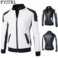 PYJTRL Men's Autumn Winter Fashion Black And White Color Matching Motorcycle Leather Coat