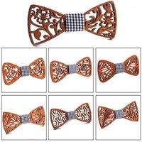 Lazos de arco de madera floral para hombres Bowtie Butterflies Hueco Traje de boda Camisa de madera Krawatte Bowknots Slim Tie1