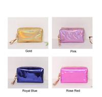 Mulheres moda laser rosa saco cosmético zipper compõem bolsa organizador organizador caixa de armazenamento malotes toalete lavar beleza maquiagem caixa de kit de maquiagem