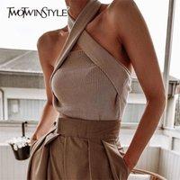 TwotWinstyle elegante sem mangas sexy mulheres suéter halter off ombro fino de malha tops feminino moda verão roupas maré 201221