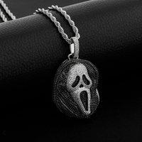 Hip Hop Eyed Black Skull Ghost Anhänger Halskette mit 4mm Tenniskette Micro aspaved Cubic Zirkonia Geschenk für Männer