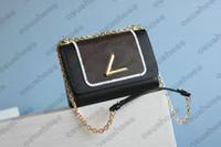 الجلود الخامس قفل رفرف المرأة مصمم قماش سلسلة حقيبة سوداء pochette تويست حقيبة الكتف سيدة رسالة crossbody حقيبة اليد M50282 M50351