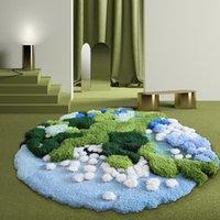 Tapis de la laine de laine 3D à la main de la Forêt, tapis de chevet de grande taille nordique, tapis de chevauchement de la décoration ronde pour enfants
