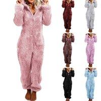 여성 플러스 사이즈 Jumpsuits Rompers 가을 겨울 옷 섹시한 클럽 Bodysuits 후드 레깅스 따뜻한 전체 길이 바지 운동복 패션 0749