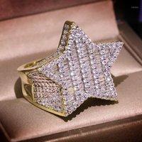 Anillo de la estrella de la estrella de la estrella de la estrella del oro de la piedra del oro de la estrella del hop para las mujeres del hombre de la joyería de la moda 2020