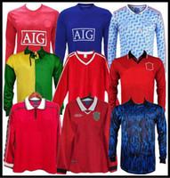 98 99 Rétro Manchester United Long Soccer Jersey 07 08 90 92 1996 1998 Man Giggs Scholes Beckham Ronaldo Cantona Keane Solskjaer