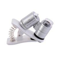 60x Clip-on Telefoon Microscope Magnifier met LED / UV-lichten voor Universal Smartphones iPhone Samsung HTC Vergrootglas