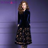 Tesscara femmes automne hiver élégant paillette velours robe festa féminin de haute qualité designer fête vestidos vintage robe femme 201027