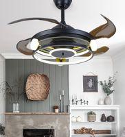 Черная северная спальня декор светодиодный потолочный вентилятор свет лампы столовая потолочные вентиляторы с огнями дистанционного управления лампами для гостиной