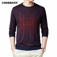 Мужские свитера Coodony свитер мужчины весенние осенью уличные одежды мода плед о-шеи тянет Homme случайные трикотажные хлопковые пуловер рубашки C10731