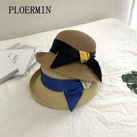 Ampla Brim Chapéus Ploermin 2021 Verão Casual Mulheres Lady Hat Hat Sun Panamá Cap Ribbon Beachwear