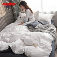 Sistema de ropa de cama de lujo a Shisher Conjuntos de tapa de edredón de color sólido individual Double Queen King Tamaño Cubiertas Cubiertas de lecho plana para láminaras