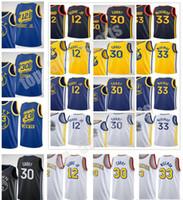 2020-21 جديد الرجال النساء الاطفال الشباب كيلي 12 Oubre Jr. James 33 Wiseman Stephen 30 الكاري جيرسي كرة السلة مدينة البحرية الأسود أصفر أزرق أبيض