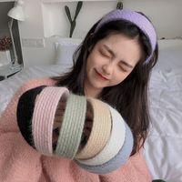 Вязание волос обруч сплошной цвет шерсти для волос простота широкая женщина универсальная мода повязка на головуще зима 3 2ys k2