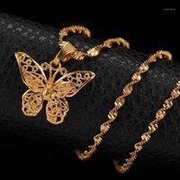 24K желтое золото заполнено милая бабочка выступление ожерелье хокеры подвески женщина водяные волны цепи ожерелья мода ювелирные изделия подарок1