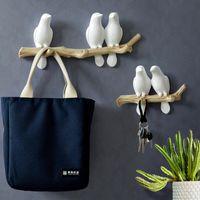 Decorações de Parede Acessórios em casa Sala de estar Resina Gancho de Pássaro Chave Key Coat Roupas Toalhas Ganchos de Chapéu Handbag Holder 201218
