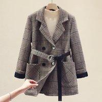Yocalor ekose ceket yünlü bez kadın ceket kadın yeni 2020 sonbahar kış kadın palto giyim mont