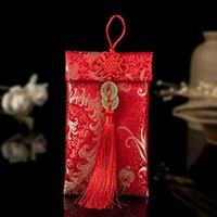 Sobre rojo de la boda del nudo chino Colección antigua de la moneda de la moneda Brocade Sobre rojo Bordado Bordado Brocado Vertical Bolso de dinero 7.5 pulgadas