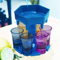 6 girato Distributore di vetro e supporto -Dispenser per liquidi di riempimento Cocktail Shots Dispenser multiplo 6 Shot Bar Shot Dispenser FY4342