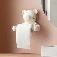 Urso parede decoração higiênico papel higiênico parede montada casa armazenamento de armazenamento caixa de papel toalha de papel dispensador de banho acessórios1
