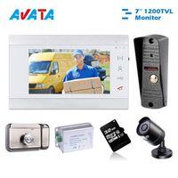 Interphone de téléphone vidéo Interphone pour la caméra Pésichée à domicile avec sonnette de moniteur de 7 pouces et verrouillage électrique Gardez votre appartement Security1