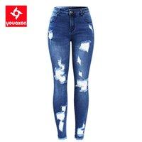 2127 Youaxon New S-XXXXXL Ультра ультра растягивающая синяя кисточка разорванные джинсы женщины джинсовые брюки брюки для женщин карандашные джинсы скинни 201225