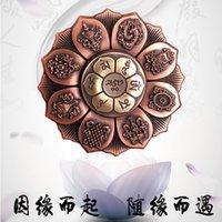 da ponta do dedo de olho de Buddha Lotus Roda Bronze Dedo Top Spinning Meditação Budista Enfeites 6OU4