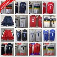 2020 Nuevo 1 Williamson Jerseys Mejor Calidad Barato Lonzo 2 Bola Baloncesto Jersey College Azul Blanco Rojo Hombre Niños Juventud