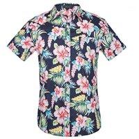 Camisa dos homens Estilo de verão Palm Tree Imprimir praia Camisa havaiana Homens Casual Manga Curta Hawaii Chemise Homme US Plus Size 3xl1