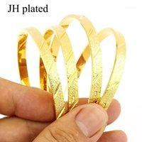 Bangle Jhlplated 4 Stück Frauen / Mädchen Hochzeit Braut Bangles Dubai Schmuck Afrika Arabische Juwely Party Gifts1