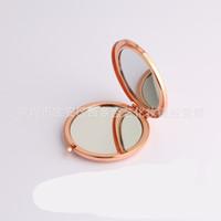 Metall Kompakte Spiegel Makeup Fundament Faltbare Handspiegel Basis Doppelbasen Kreis Lookingglas Edelstahl Kosmetik 4 3JY C2