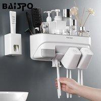 Conjunto acessório de banho Baispo Toothbrush Suporte automático de creme dental Dispenser Squeezer Banheiro Armazenamento de Armazenamento Acessórios de parede Conjuntos