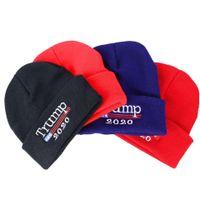 Freedonald ترامب 2020 قبعة 4 ألوان skullies beanies إعادة انتخابه إبقاء أمريكا التطريز الكبير الولايات المتحدة الأمريكية العلم الشتاء قبعة الطرف القبعات OOA7066DHL