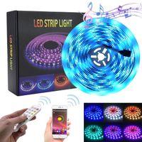 新しい機能5M LED RGBストリップテープライト150 LEDの防水音楽同期の色変更ブルートゥースコントローラ24キーリモコン装飾