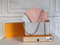 """LV """"가방 루이""""디자이너 """"Vitton 가죽 새로운 3 PCS / 숙녀 지갑 크로스 바디 핸드백으로 좋아하는 어깨 가방 세트 Pochette Wo"""
