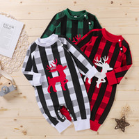 Baby Girl Boy Tangsuits Merry Christmas Elk Buffalo stampato manica lunga natale natale Born Toddler Grid Pagliaccetto