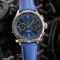 Nova Premier B01 Caso de aço AB0118A61C1P1 VK Cronógrafo de Quartzo Cronógrafo Mens Relógio Cronômetro Azul Dial Blue Leather Strap Watches Hello_Watch Hwbr