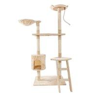 """60 """"단단한 귀여운 Sisal 로프 플러시 고양이 등반 나무 타워 베이지 가구 스크래너"""