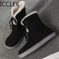 ICClek Winter New Womens Big Size Stivali corti da donna Casual Boots Wild Cotton Boots Moda Assegnata A0671 A0671