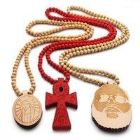 Anhänger Halsketten Kreuz Jesus Christen Mary Gute Holz Hip Hop Halskette Rosenkranz Jewery JASW0941